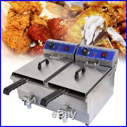 20L Commercial Deep Fryer Electric Double Basket with Oil Tap Stainless Steel US