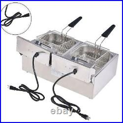 20L Commercial Electric Deep Fryer Fat Chip Twin Dual Tank Stainless Steel 4000W