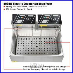 20L Electric Countertop Deep Fryer Commercial Stainless Steel Single 5000W