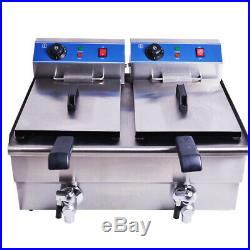 210L Commercial Deep Fryer Electric Double Basket withOil Tap Stainless Steel US