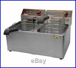 22 Double Well Electric Countertop Deep Fryer 32 lb Winco EFS-32 NEW #9979 ETL