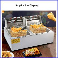 220V 12L Commercial Electric Deep Fryer Frying Chicken Machine Dual Tank 60-200