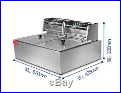 220V Commercial 11L Electric Dual Tank Deep Fryer Fast Food Frying Machine