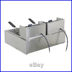 220V Deep Fryer Twin Frying Basket Chip Cooker Chef Electric Commercial