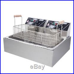 22L 5KW Electric Deep Fryer Commercial Tabletop Restaurant Fry Basket with 2 hooks