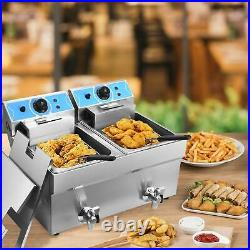 22L Electric Deep Fryer Dual Tank Stainless Steel 2 Fry Basket Commercial 4000W