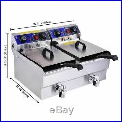 23.4L/6L Electric Dual Tank Deep Fryer Restaurant Chicken French Fry with Drains