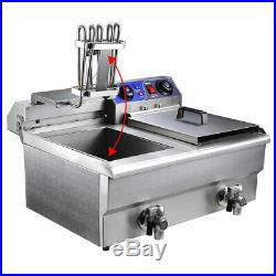 23.4L Commercial Deep Fryer with Timer and Drain Fast Food French Frys Electric
