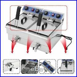 23.4L Commercial Deep Fryer withTimer Drain Fast Food French Fry Electric Cooker B