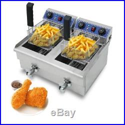 23.4L Commercial Deep Fryer withTimer Drain Fast Food French Fry Electric Cooker V