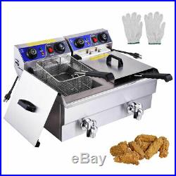 23.4L Dual Tank Deep Fryer Faucet Timers Electric Restaurant Chicken French Fry
