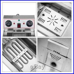23.6L 25QT Electric Countertop Deep Fryer Commercial XL Fry Basket Restaurant