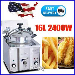 2400W 16L Commercial Electric Countertop Pressure Deep Fryer 5 Chicken Cooking