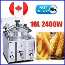2400W 16L Commercial Electric Countertop Pressure Deep Fryer 5 Chicken Stainless