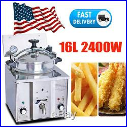 2400W 16L Commercial Electric Countertop Pressure Deep Fryer Chicken Meat Basket