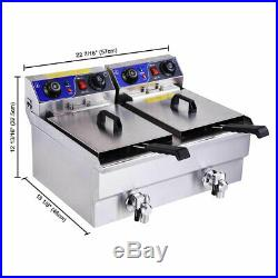 24L Electric Deep Fryer Commercial Dual Tank Stainless Steel Timer Drain 3000W