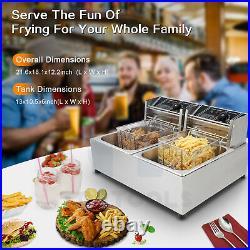 2500+2500W Dual Tank 12L Electric Countertop Deep Fryer Basket Restaurant