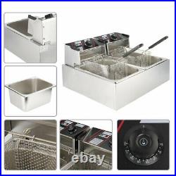 2500W-5000W Electric Countertop Deep Fryer Commercial Restaurant Stainless Steel