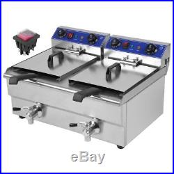26L Commercial Deep Fryer with Timer and Drain Fast Food French Frys Electric OY