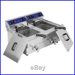 26L Dual Tanks Electric Deep Fryer Commercial Tabletop Fryer +Nasket Scoop OY