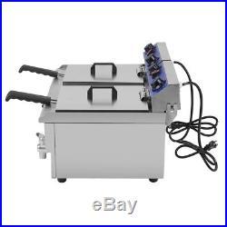 26L Dual Tanks Electric Deep Fryer Commercial Tabletop Fryer +Nasket Scoop SK