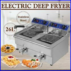 26L Electric Countertop Deep Fryer Commercial Restaurant Fried Food Cooker TO