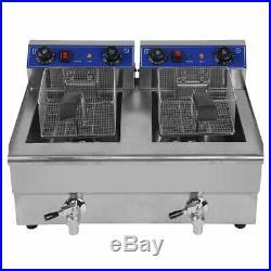 26L Electric Countertop Deep Fryer Commercial Restaurant Fried Food Cooker WW