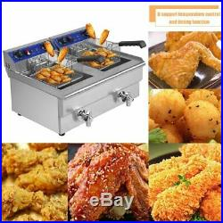 26L Electric Countertop Deep Fryer Double Basket French Fry Restaurant Bar TO