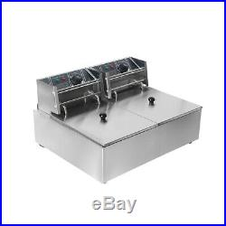 2Tank 16L Commercial Frying Furnace Multi-funtion Deep Fryer Stainless Steel
