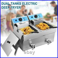 2X 11L Dual Tank Electric Deep Fryer Stainless Steel 2 Fry Basket Commercial