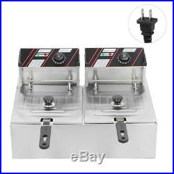 2X2500W Electric Countertop Deep Fryer Dual Tank Commercial Restaurant