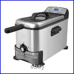 3.2 Qt Deep Fryer Oil Filtration System Digital Control Display Stainless Steel