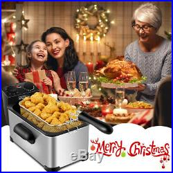 3.2 Quart Electric Deep Fryer 1700W Stainless Steel with Frying Basket Kitchen