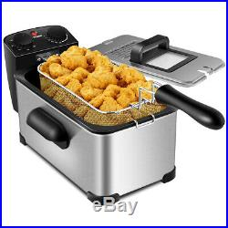 3.2 Quart Electric Deep Fryer 1700W Stainless Steel withTimer & Frying Basket Home