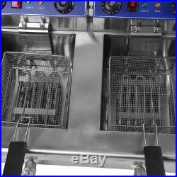 3.3KW Electric Countertop Deep Fryer Dual Tank Commercial Restaurant 26 Liter EC