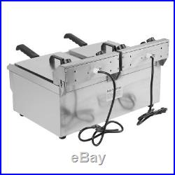 3.3KW Electric Countertop Deep Fryer Dual Tank Commercial Restaurant 26 Liter MX