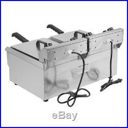 3.3KW Electric Countertop Deep Fryer Dual Tank Commercial Restaurant Steel 26L P
