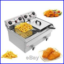 3000W 23.6L 25QT Electric Deep Fryer Commercial Restaurant Fry Basket 2 Tank