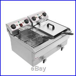 3000W 24L Electric Deep Fryer Commercial Countertop Basket French Fry Restaurant