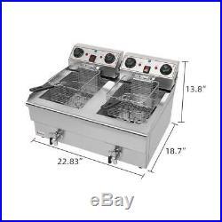 3000W Electric Deep Fryer 25QT Commercial Tabletop Restaurant Fry Basket