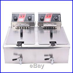 30L Commercial Deep Fryer with Timer Drain Fast Food French Fry Electric Cooker KW