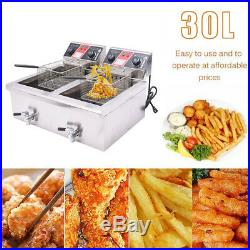 30L Electric Countertop Deep Fryer Commercial Restaurant Meat with Timer Drain