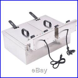 30L Electric Countertop Deep Fryer Commercial Restaurant Meat with Timer Drain J