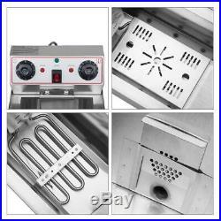3400W 23.6L 25QT Electric Deep Fryer Commercial Restaurant Fry Basket 2 Tank
