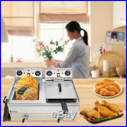 3400W Electric Countertop Deep Fryer Dual Tank Commercial Restaurant 24L Updated