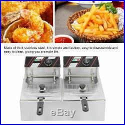 3400W Electric Countertop Deep Fryer Dual Tank Commercial Restaurant with Basket
