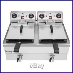 3400W Electric Deep Fryer 25QT Commercial Tabletop Restaurant Fry Basket
