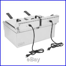 3400W Electric Dual Tank Deep Fryer Stainless Steel Basket Commercial Restaurant