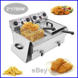 3400W Updated Electric Countertop Deep Fryer Dual Tank Commercial Restaurant 24L
