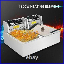 3600W 12.7QT Electric Countertop Deep Fryer Basket Restaurant 12L Liter